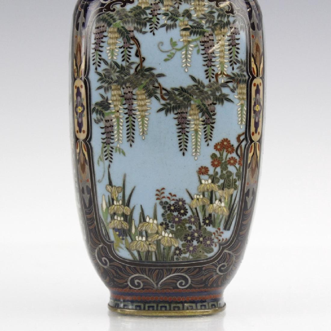 Japanese Cloisonne Enamel Ginbari Panel Bud Vase - 3