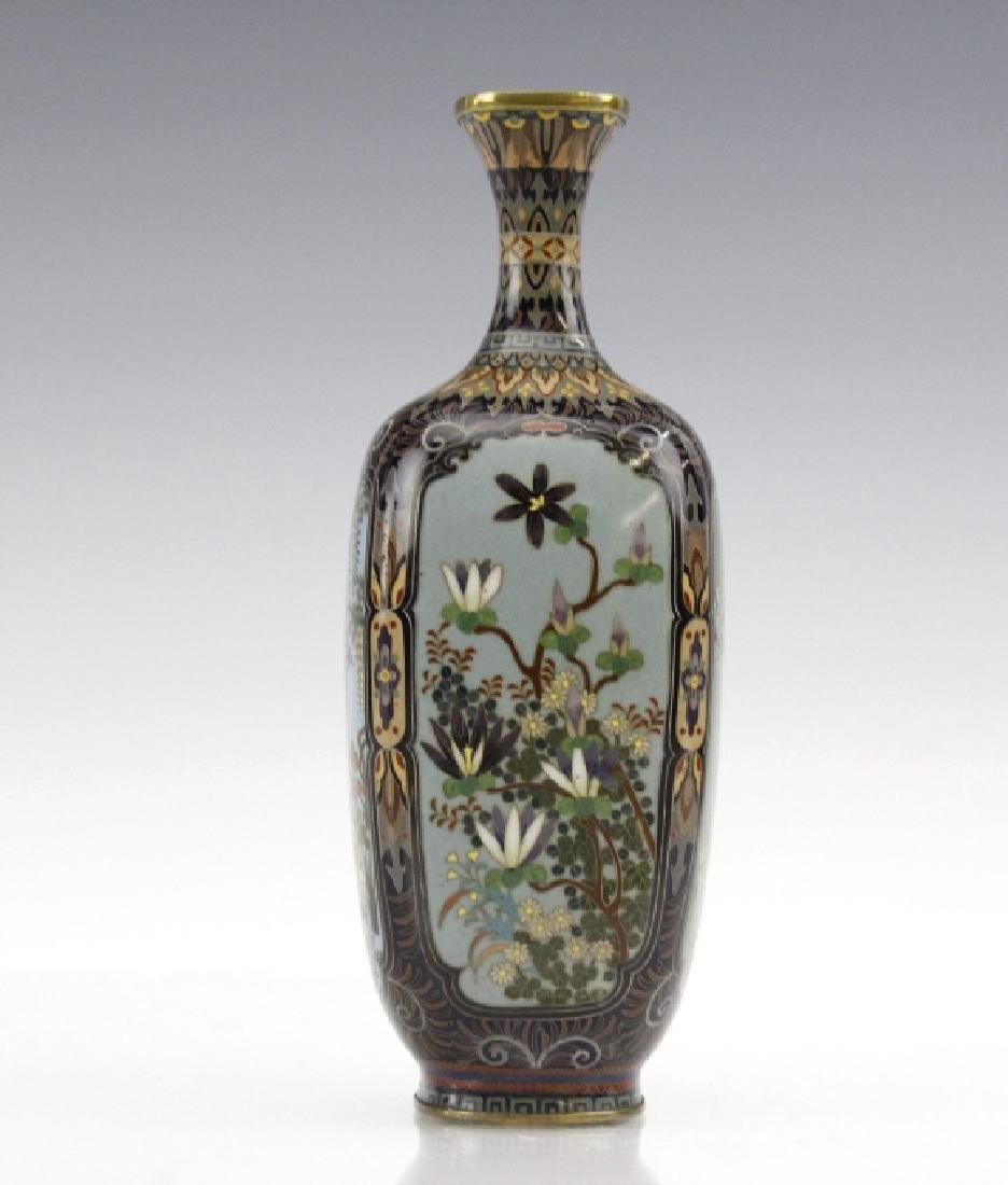 Japanese Cloisonne Enamel Ginbari Panel Bud Vase - 4
