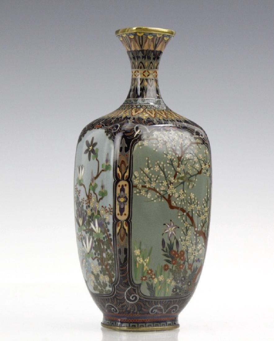 Japanese Cloisonne Enamel Ginbari Panel Bud Vase - 5
