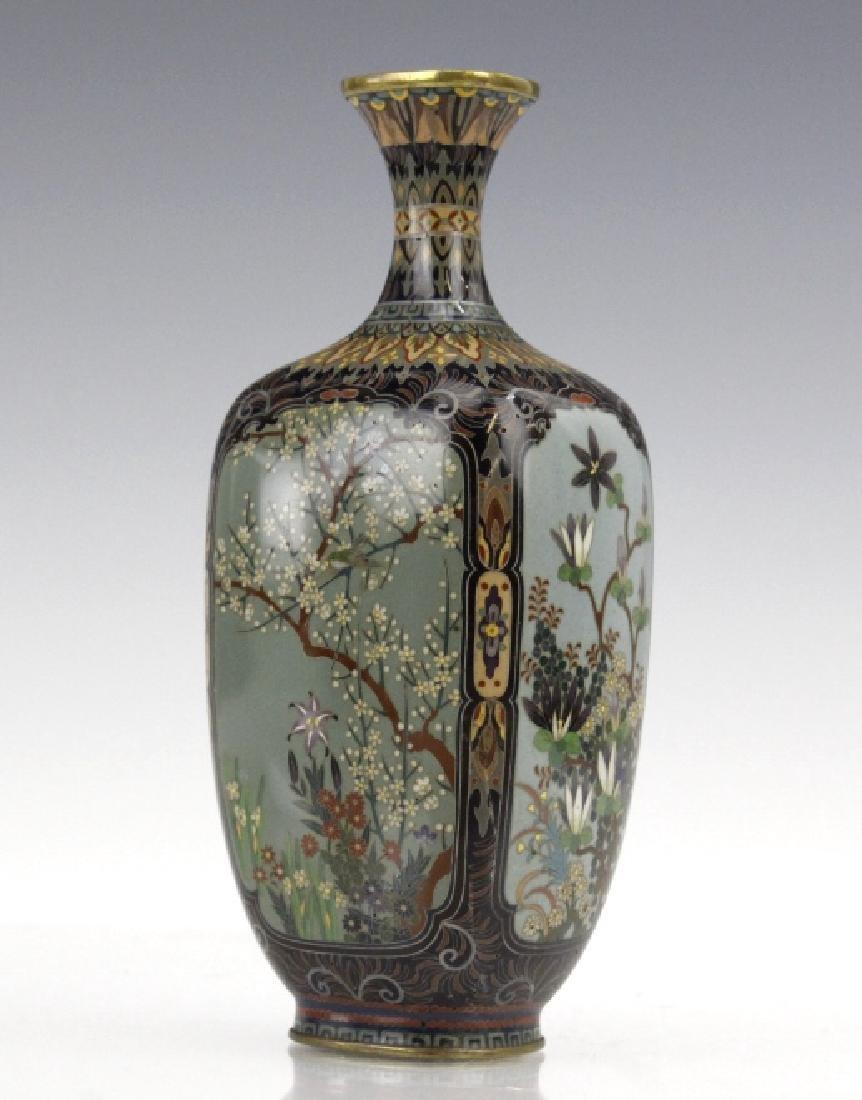 Japanese Cloisonne Enamel Ginbari Panel Bud Vase - 8