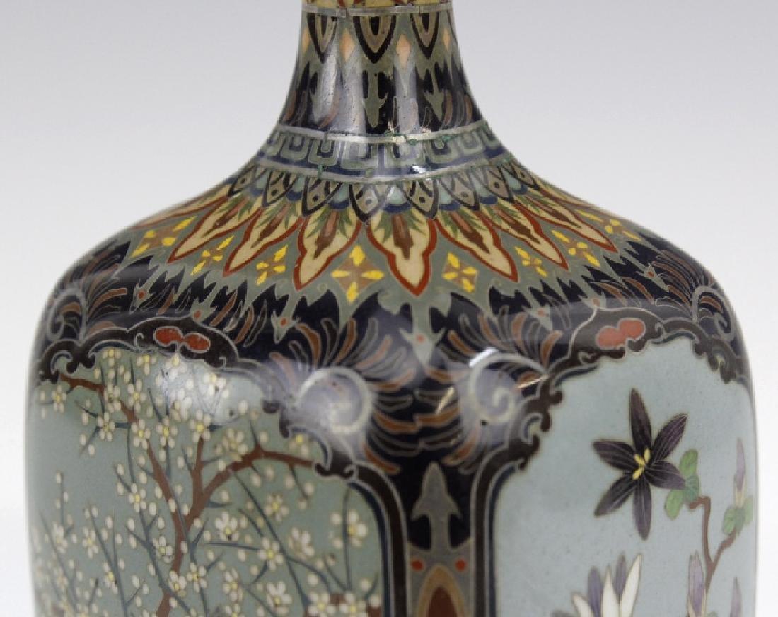 Japanese Cloisonne Enamel Ginbari Panel Bud Vase - 9