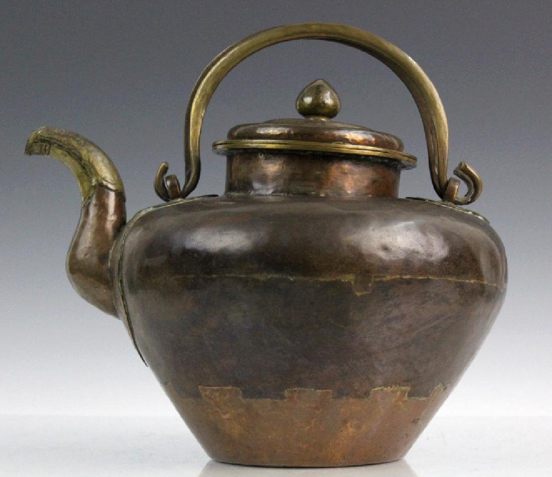 Antique Chinese Hammered Copper & Brass Coffee Teapot