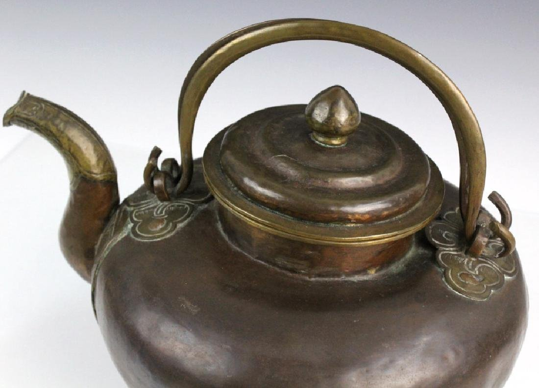 Antique Chinese Hammered Copper & Brass Coffee Teapot - 2