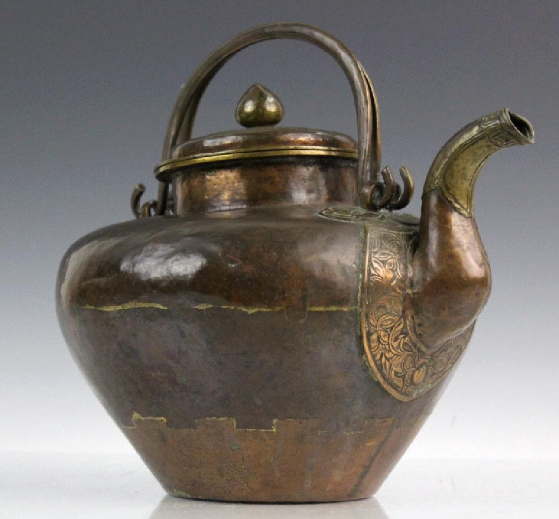 Antique Chinese Hammered Copper & Brass Coffee Teapot - 3