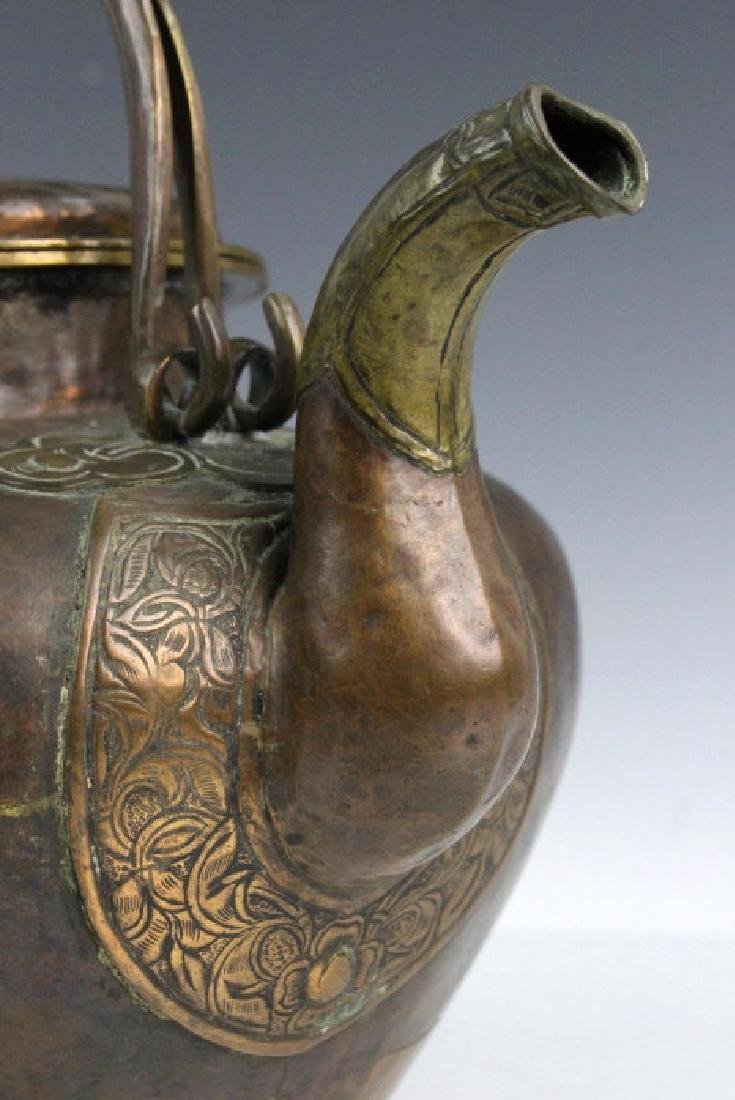 Antique Chinese Hammered Copper & Brass Coffee Teapot - 4