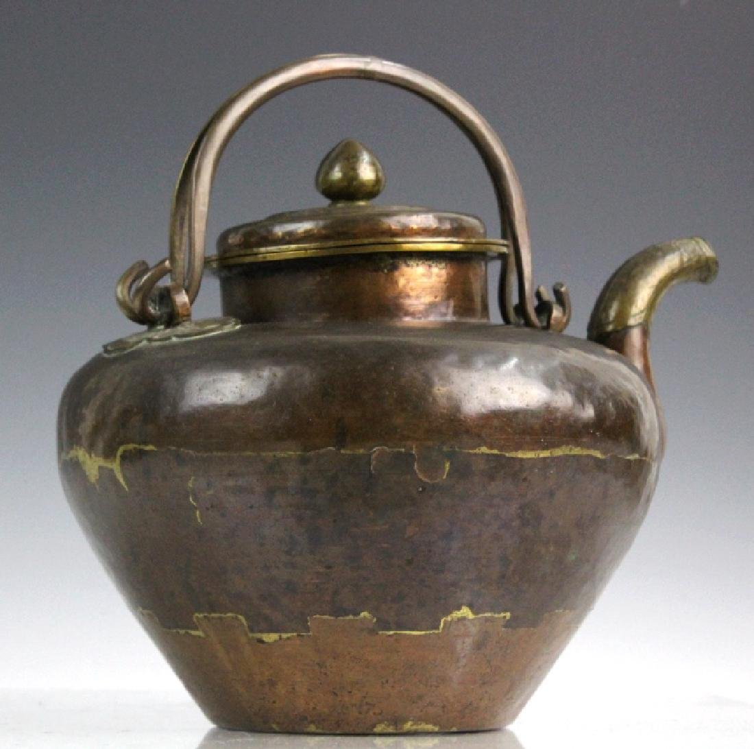 Antique Chinese Hammered Copper & Brass Coffee Teapot - 5