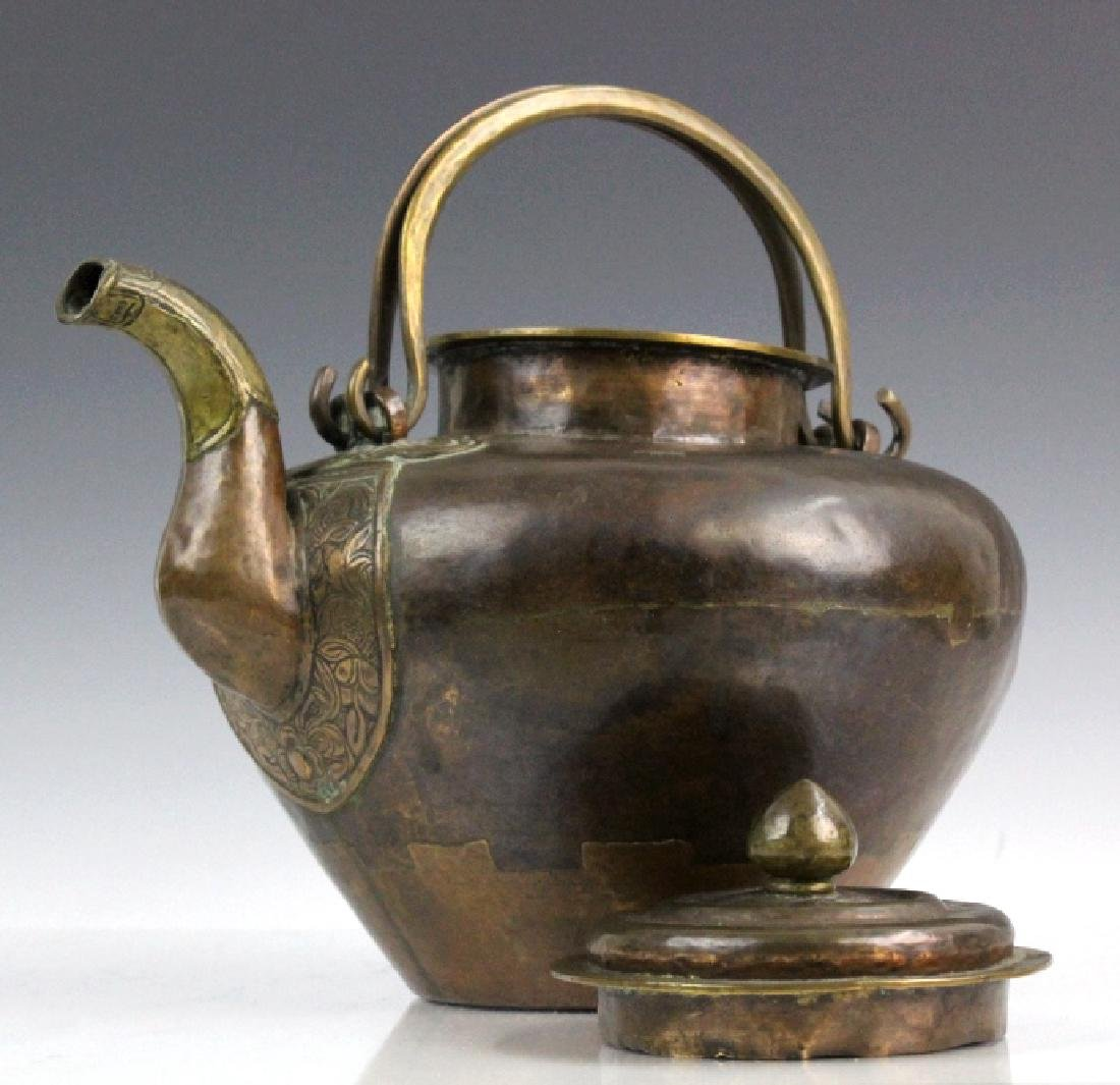 Antique Chinese Hammered Copper & Brass Coffee Teapot - 7