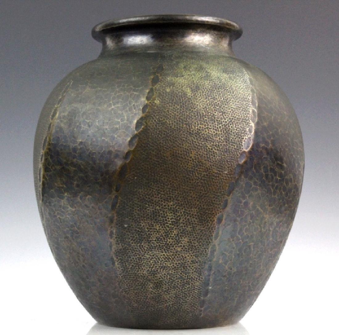 """Signed Japanese Hammered Copper 9 1/2"""" Vase"""