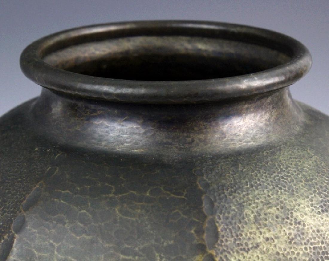 """Signed Japanese Hammered Copper 9 1/2"""" Vase - 2"""