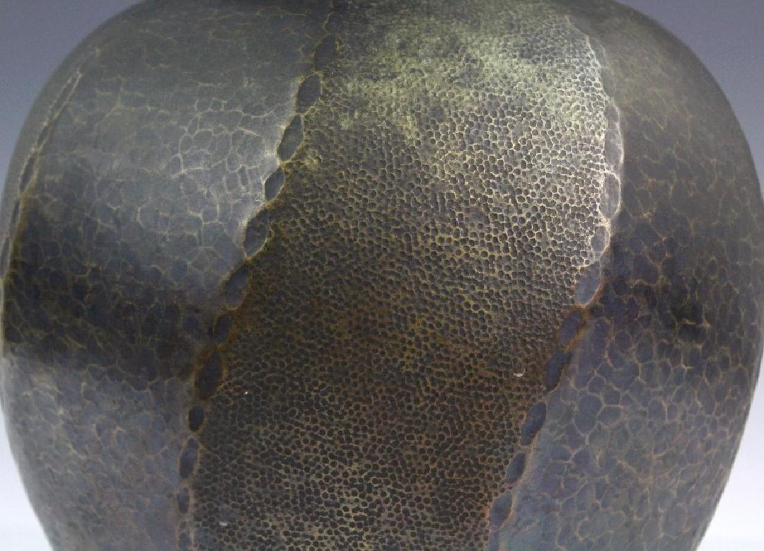 """Signed Japanese Hammered Copper 9 1/2"""" Vase - 3"""