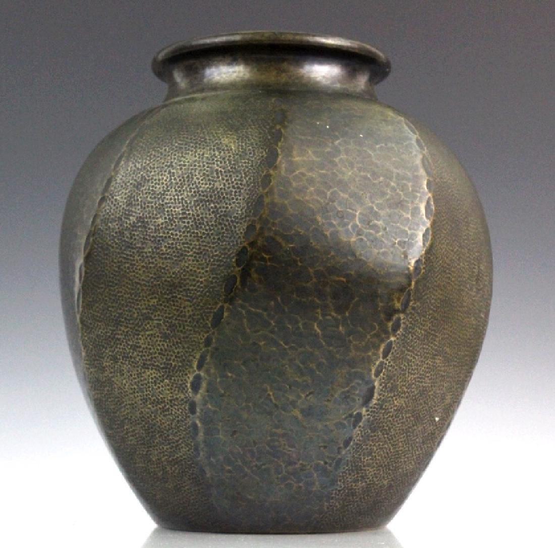 """Signed Japanese Hammered Copper 9 1/2"""" Vase - 4"""