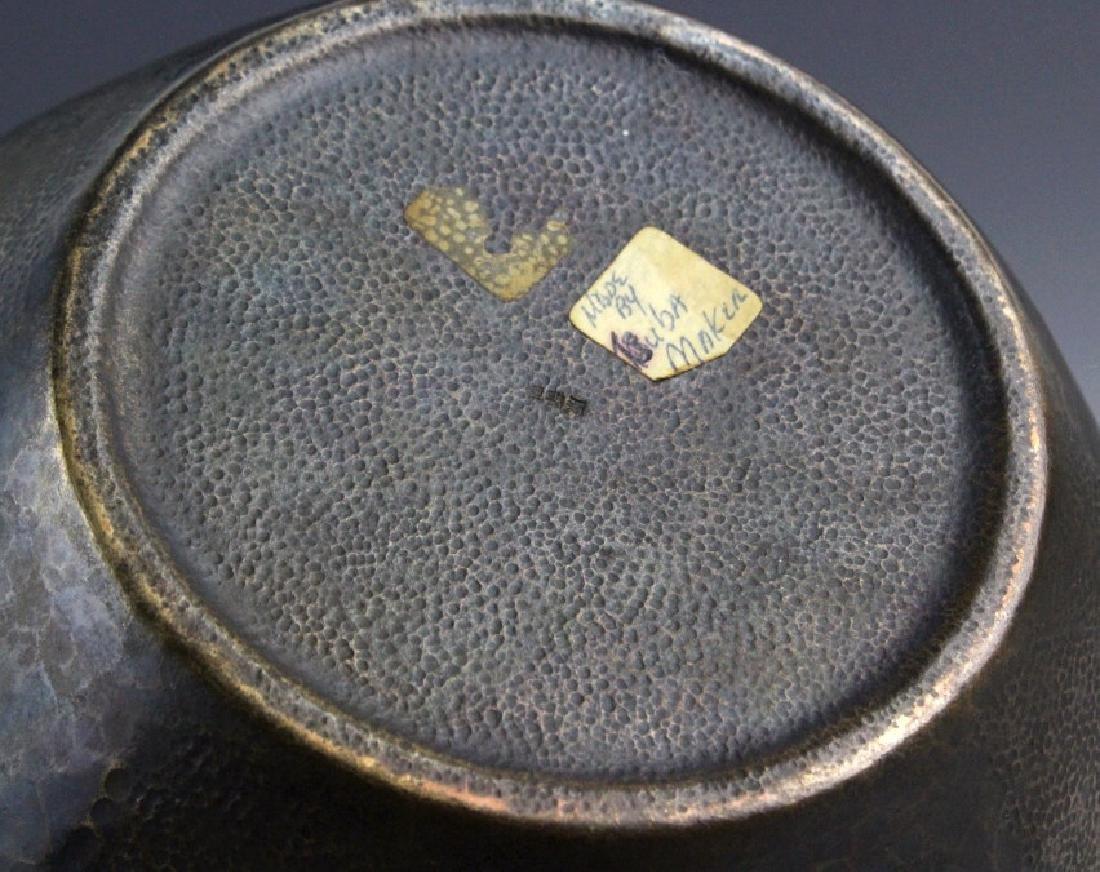 """Signed Japanese Hammered Copper 9 1/2"""" Vase - 5"""