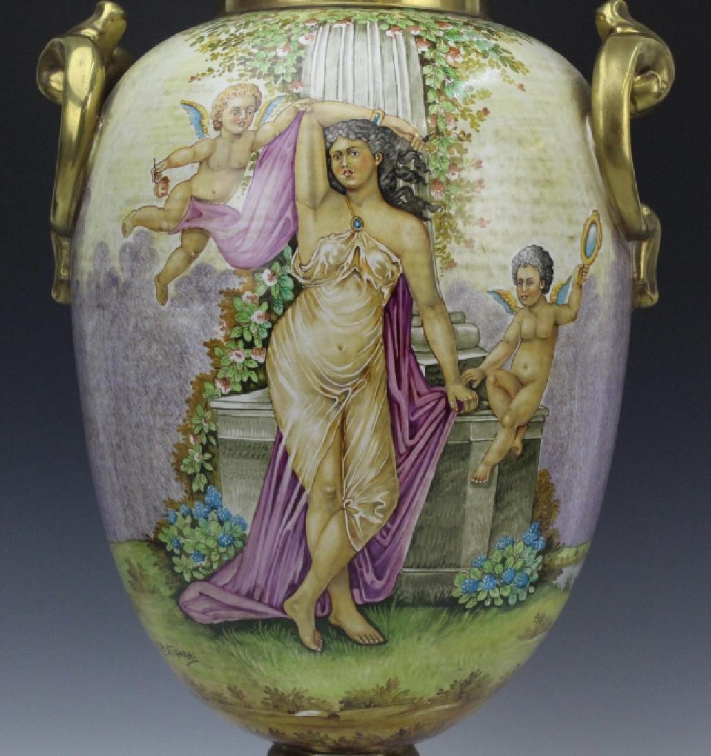 Signed Leonardo Batignani Italian Porcelain Urn Vase - 3
