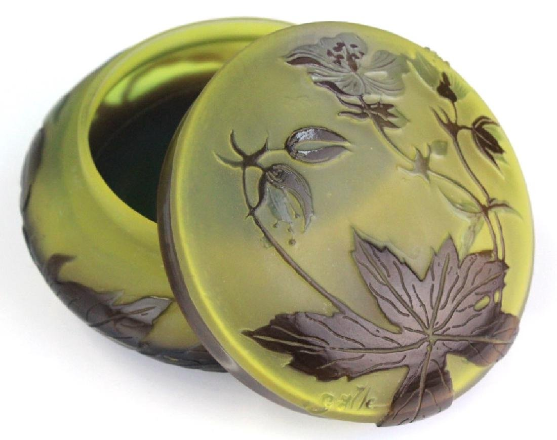 Galle French Cameo Etched Floral Glass Powder Box Jar