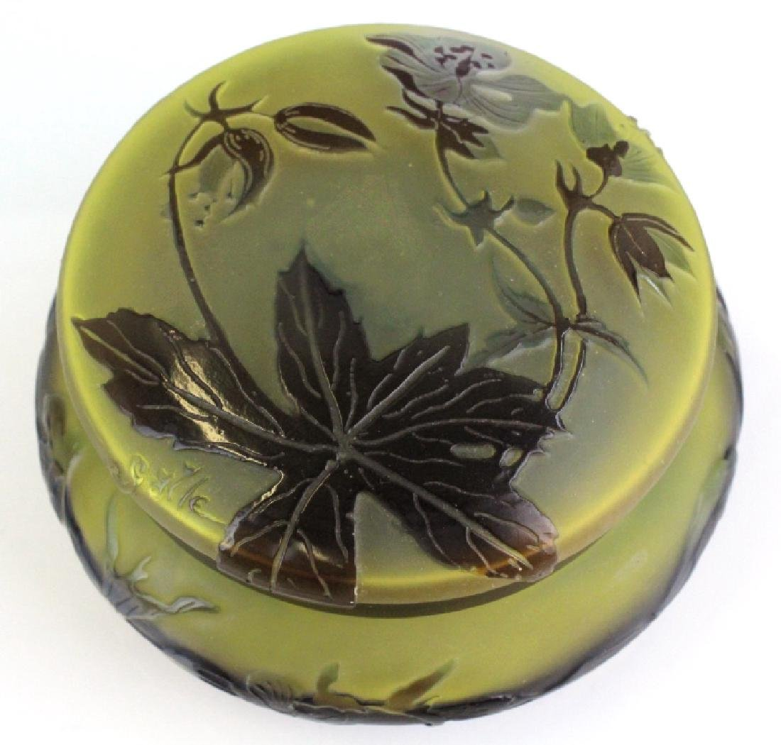 Galle French Cameo Etched Floral Glass Powder Box Jar - 5