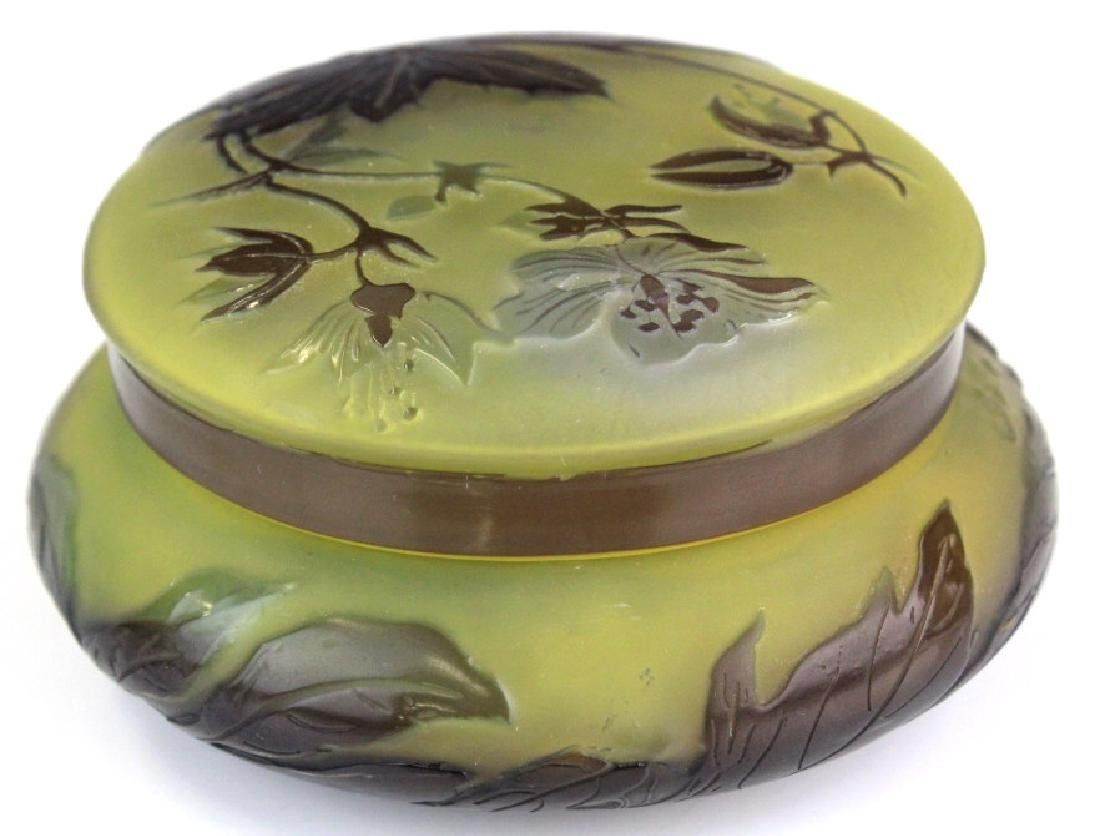 Galle French Cameo Etched Floral Glass Powder Box Jar - 6