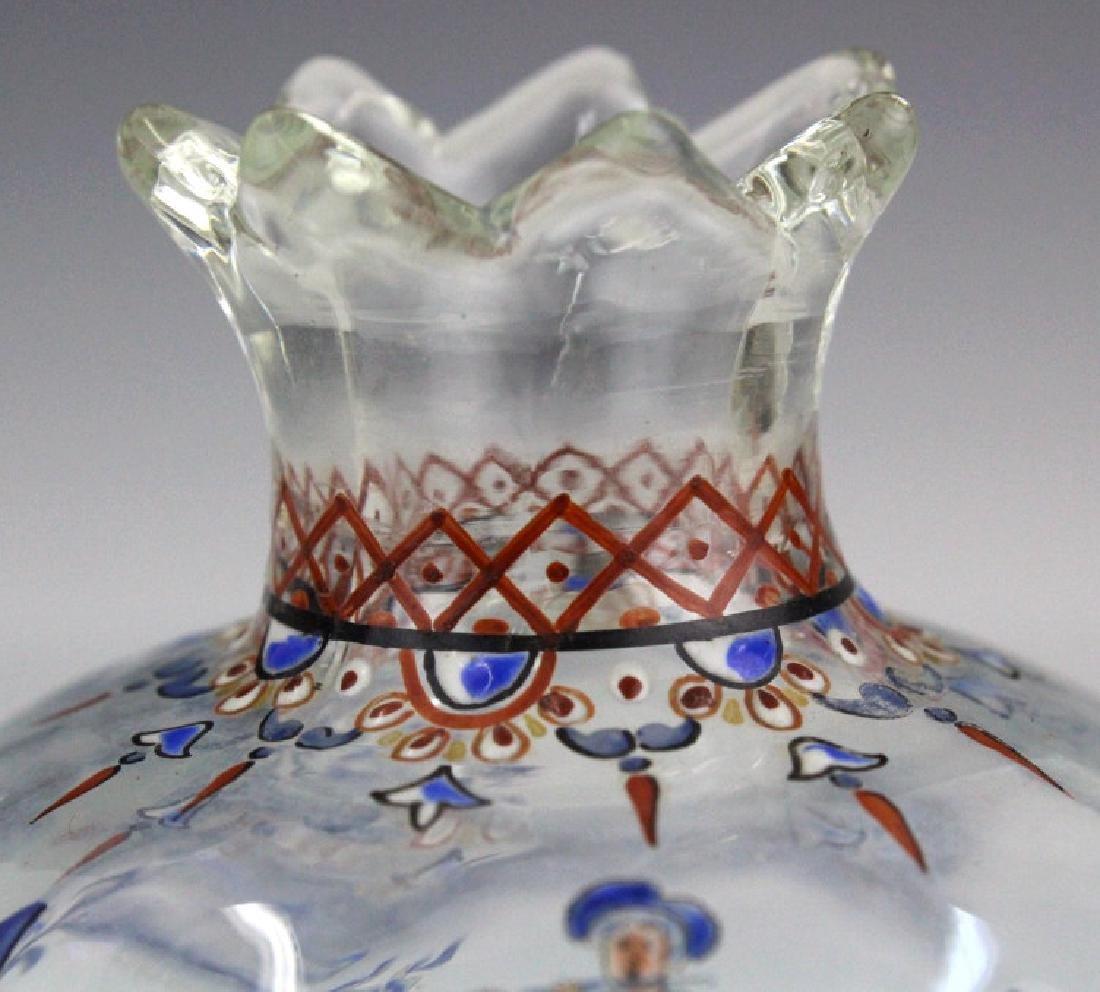 """Galle French Art Glass Enameled Figure 4"""" Vase - 3"""