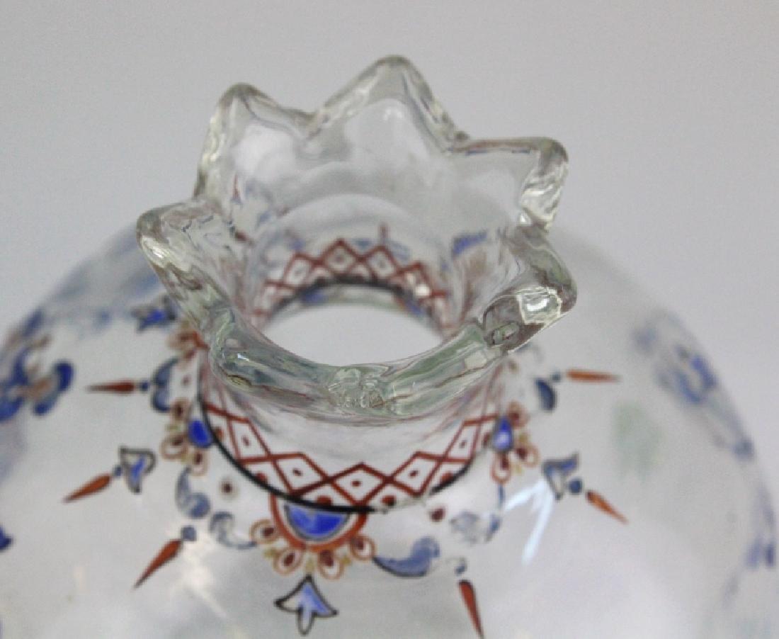 """Galle French Art Glass Enameled Figure 4"""" Vase - 7"""