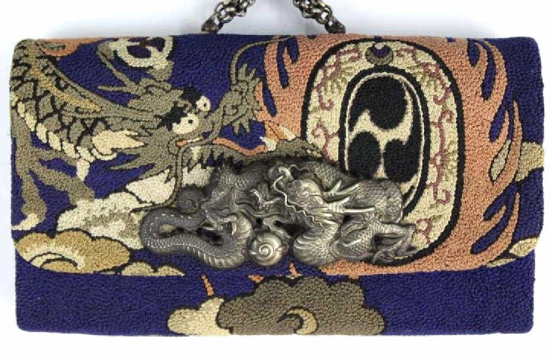 Japanese Embroidered Dragon Silver Tobacco Pouch - 2