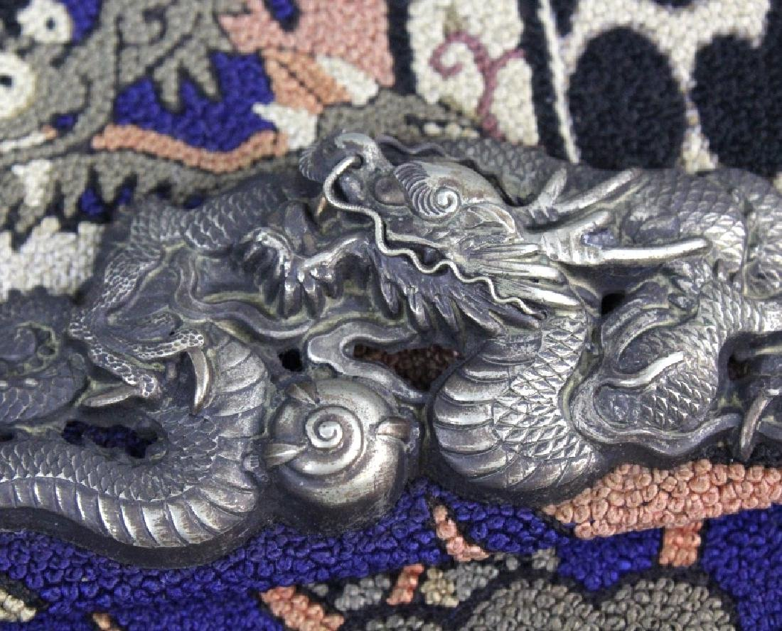 Japanese Embroidered Dragon Silver Tobacco Pouch - 3