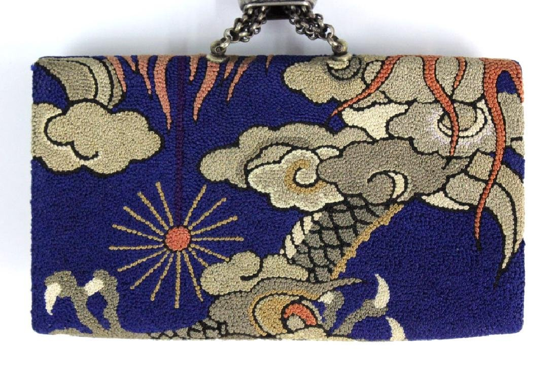 Japanese Embroidered Dragon Silver Tobacco Pouch - 6