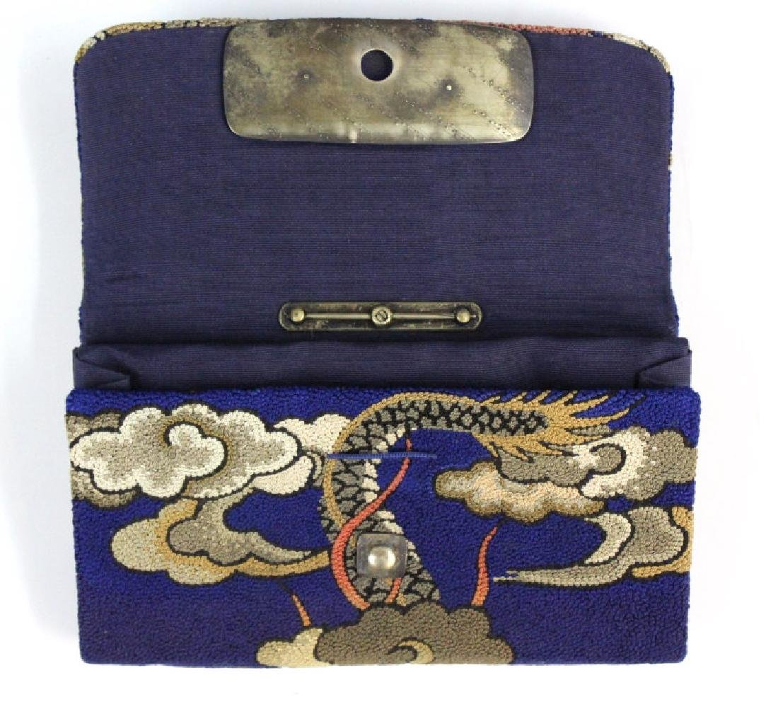 Japanese Embroidered Dragon Silver Tobacco Pouch - 7
