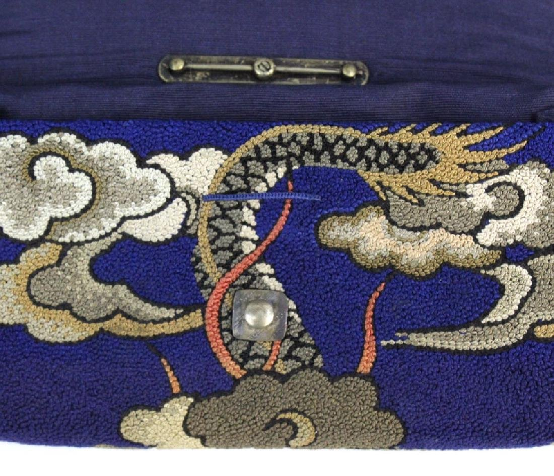 Japanese Embroidered Dragon Silver Tobacco Pouch - 8