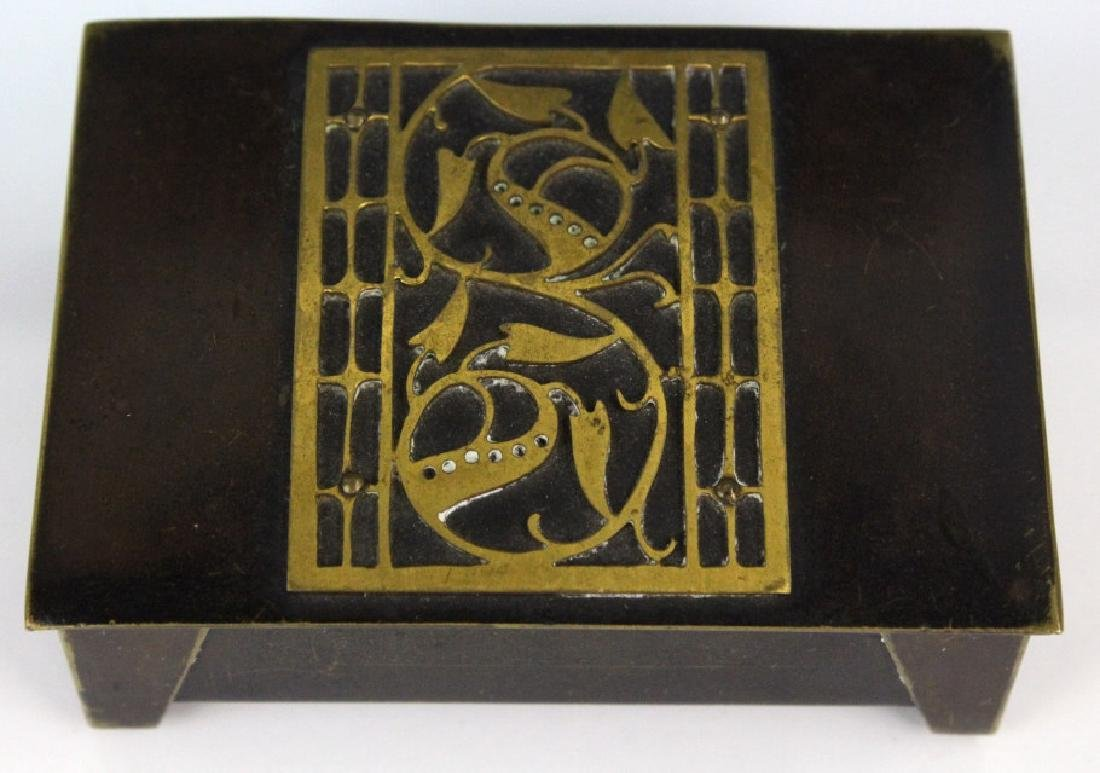German Jungendstil Bronze Brass Inlaid Stamp Box