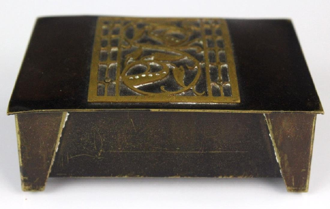 German Jungendstil Bronze Brass Inlaid Stamp Box - 2