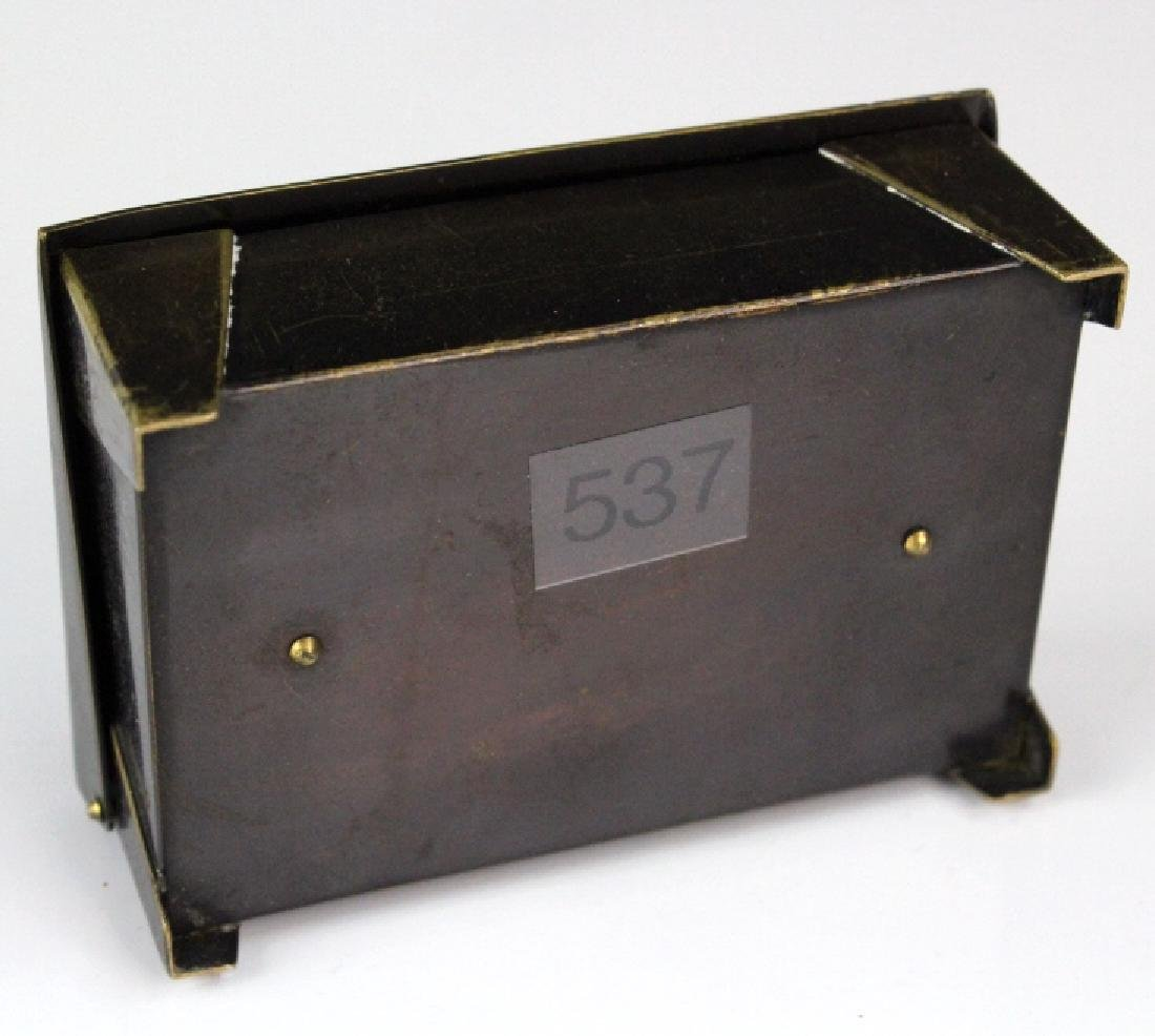 German Jungendstil Bronze Brass Inlaid Stamp Box - 5