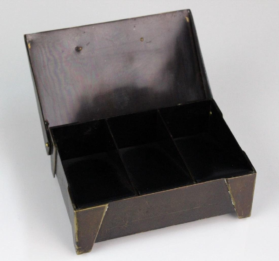German Jungendstil Bronze Brass Inlaid Stamp Box - 6