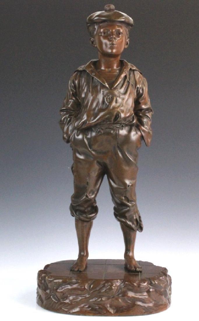 After V. Szczeblewski Whistling Boy Bronze Statue