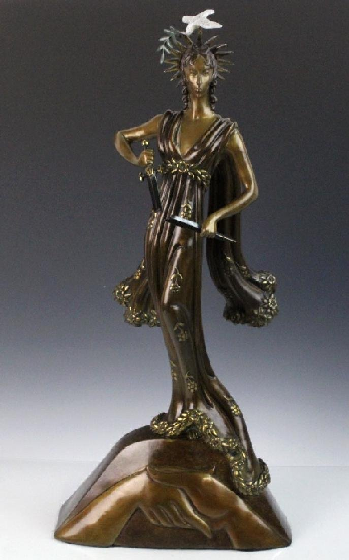 Signed Erte Patinated Cast Bronze Sculpture Peace 1984