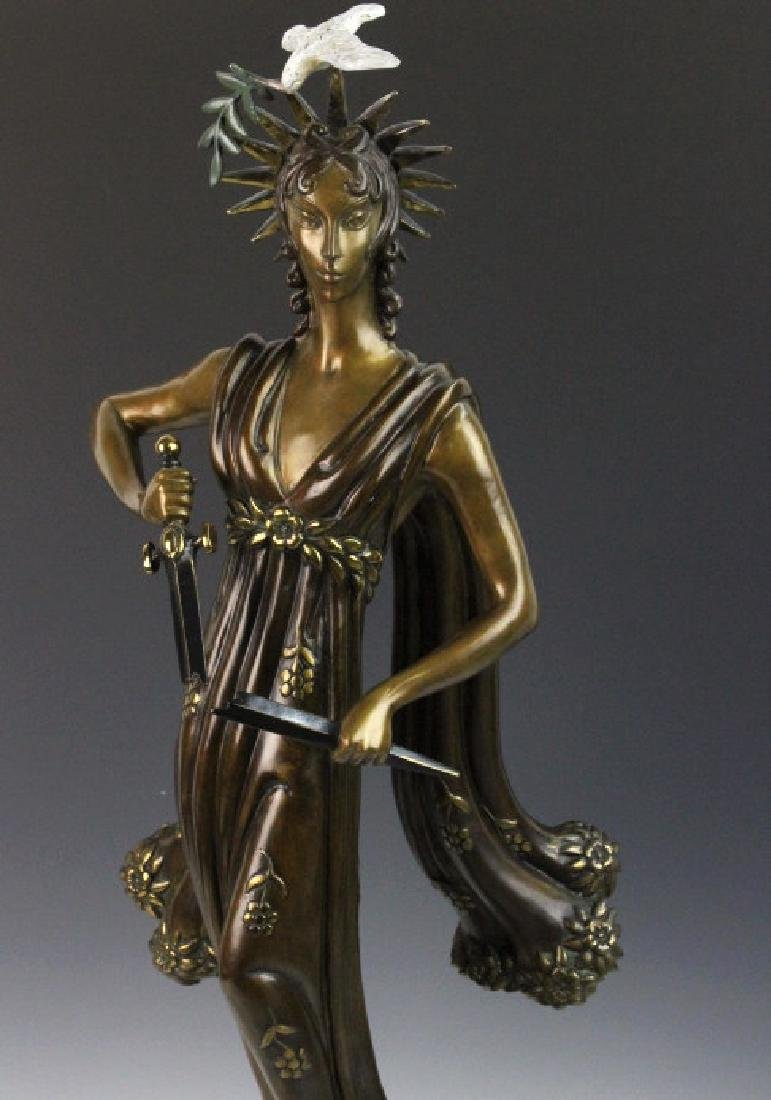 Signed Erte Patinated Cast Bronze Sculpture Peace 1984 - 2
