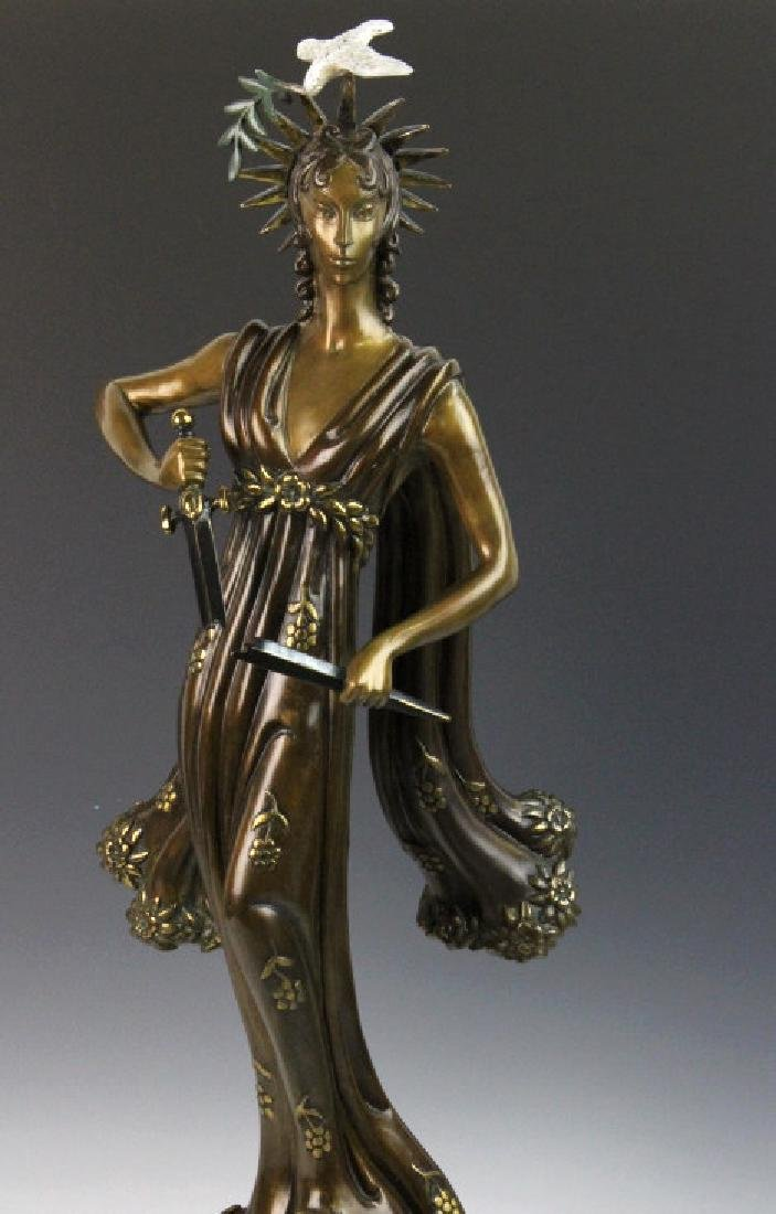 Signed Erte Patinated Cast Bronze Sculpture Peace 1984 - 4
