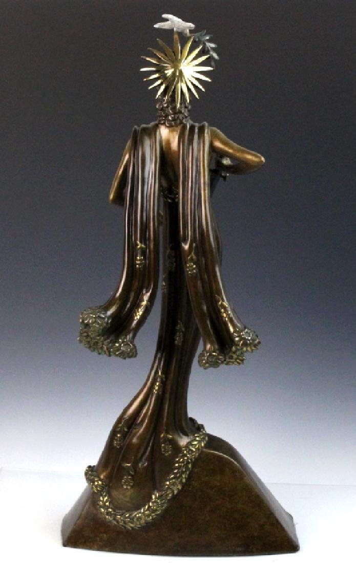 Signed Erte Patinated Cast Bronze Sculpture Peace 1984 - 5