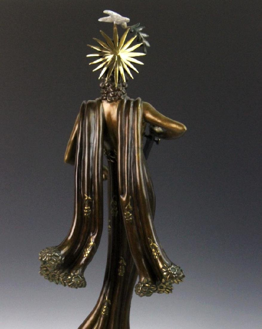 Signed Erte Patinated Cast Bronze Sculpture Peace 1984 - 6