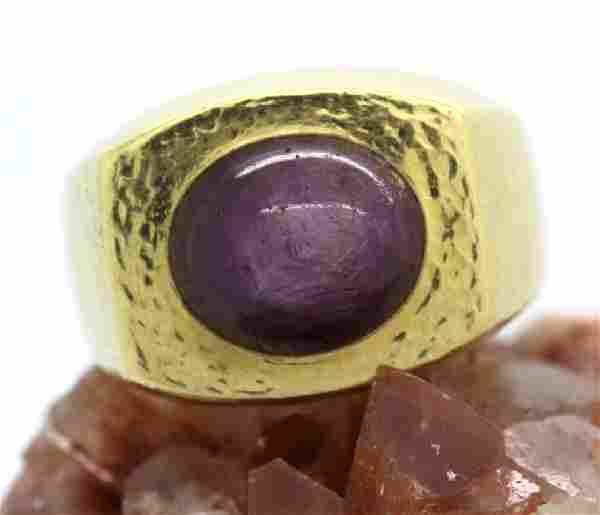 Signed David Webb 18k Gold Star Ruby Hammered Ring