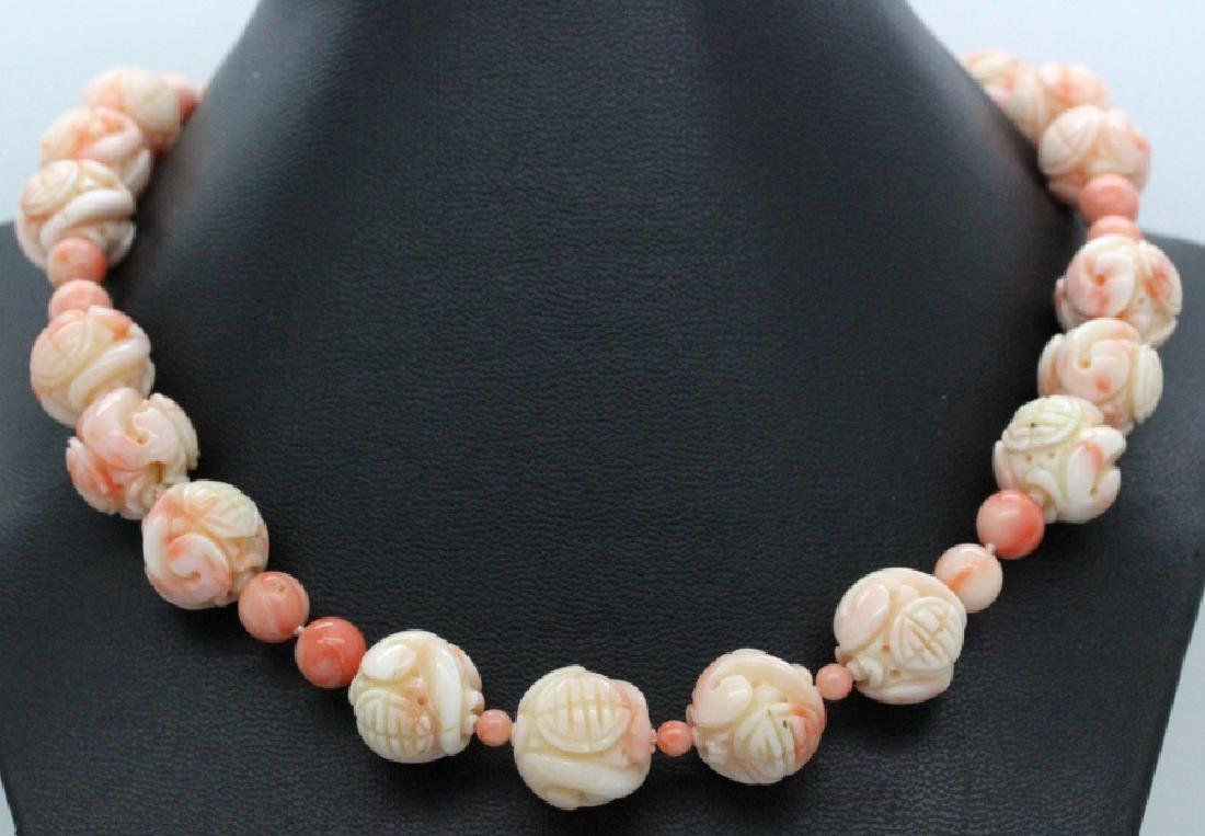 LARGE Chinese Carved Pink Angel Skin Coral Necklace