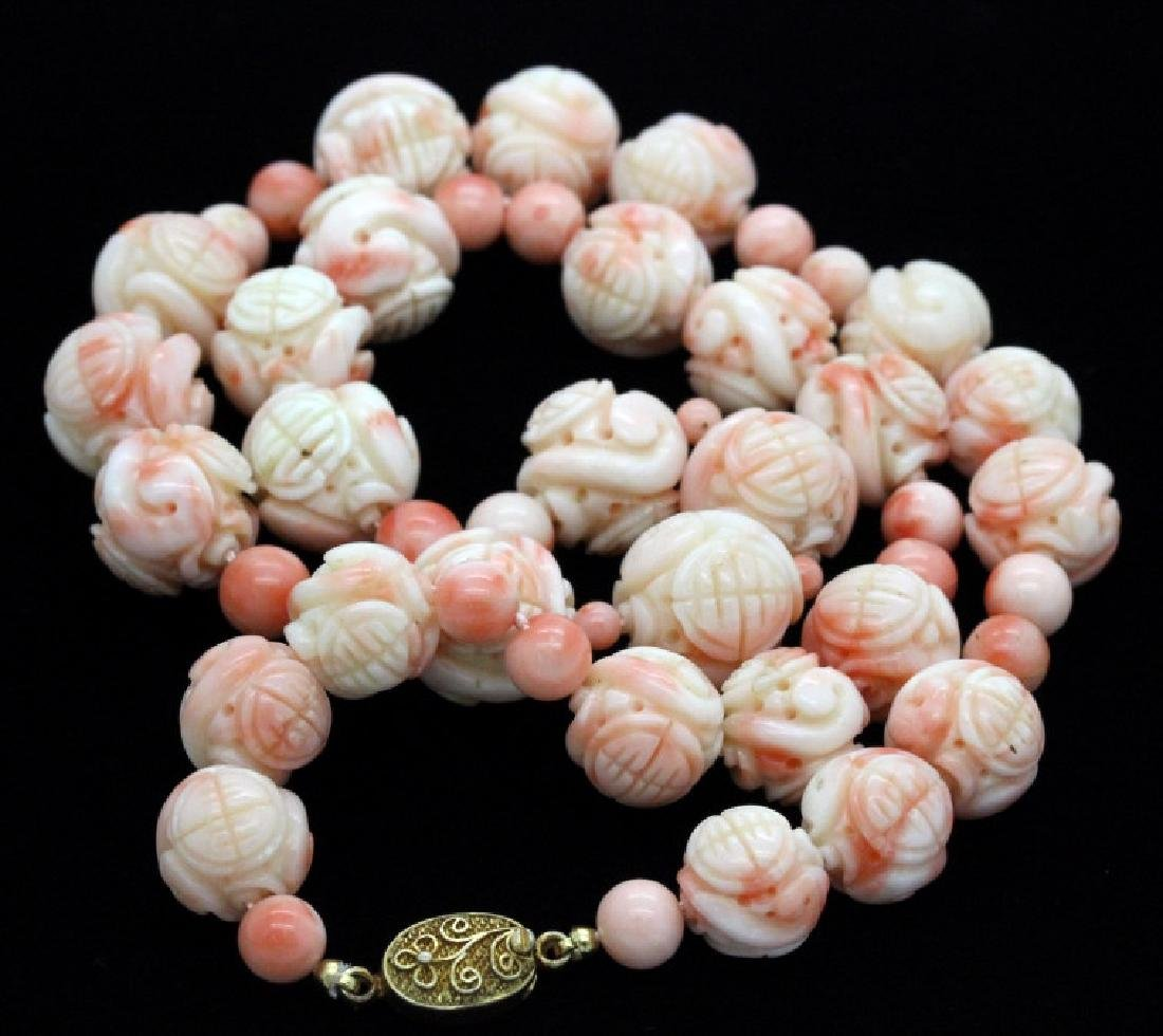 LARGE Chinese Carved Pink Angel Skin Coral Necklace - 2