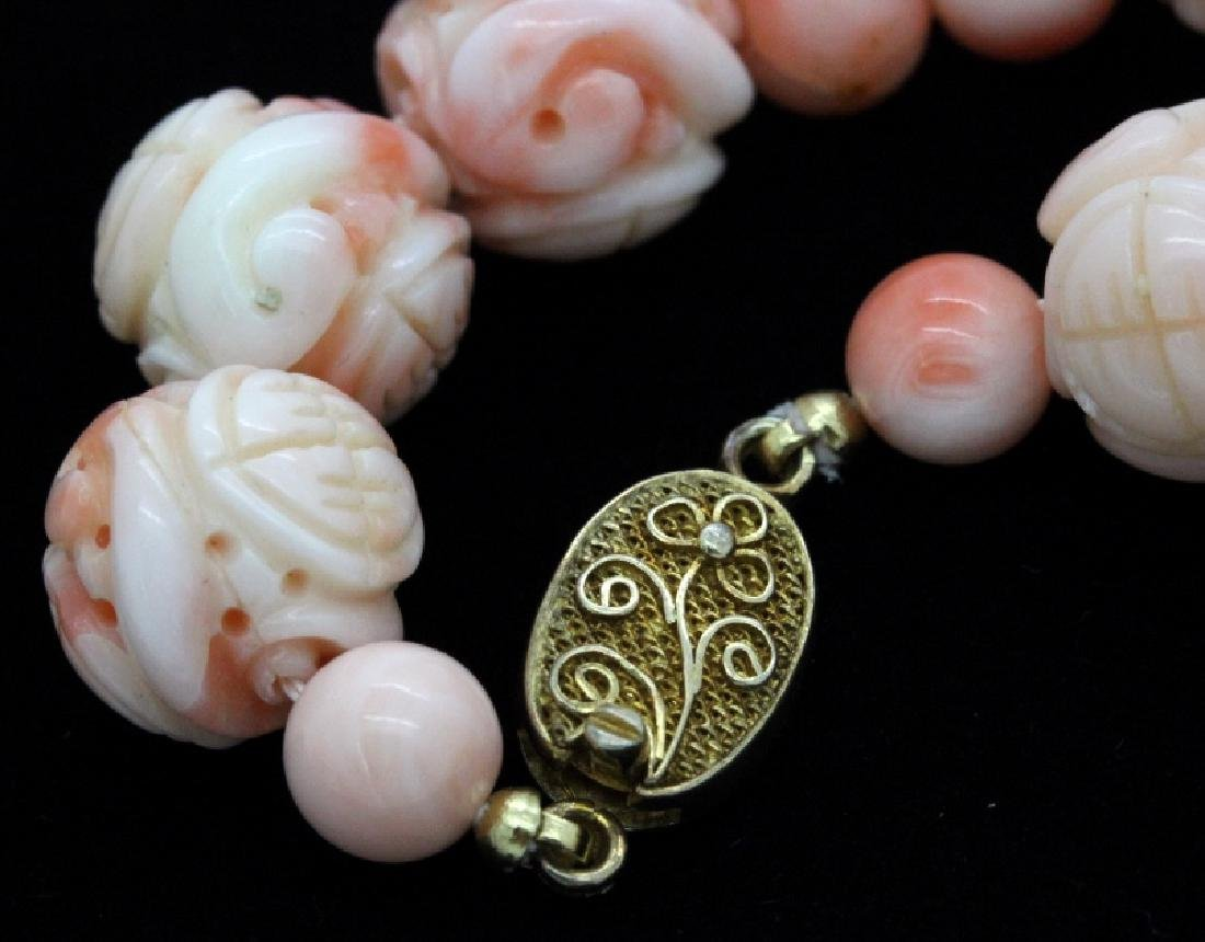LARGE Chinese Carved Pink Angel Skin Coral Necklace - 4
