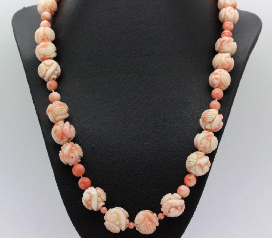 LARGE Chinese Carved Pink Angel Skin Coral Necklace - 6