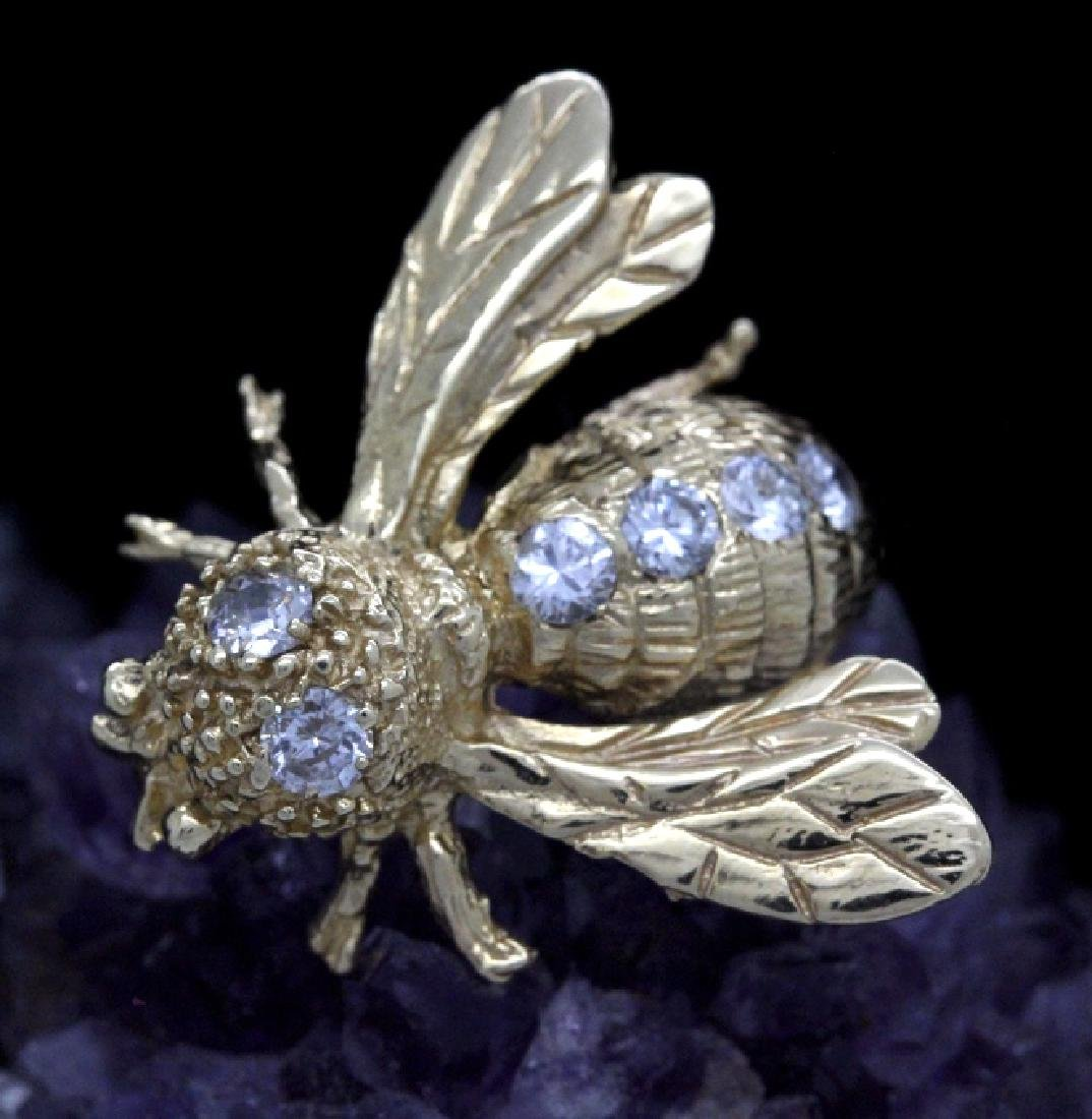 14k Gold Designer Signed 2/3 Ct Diamond Bee Brooch Pin