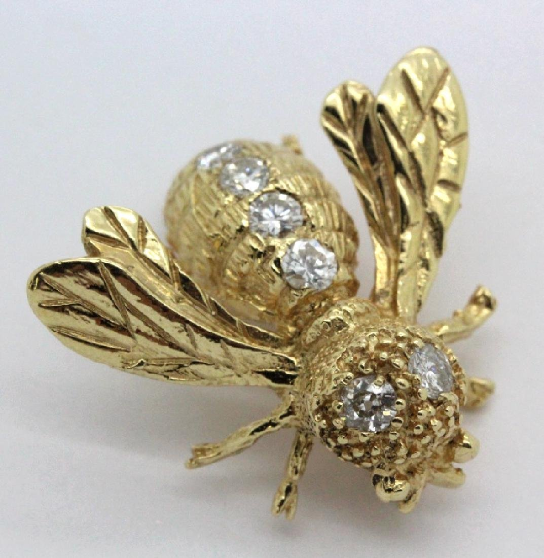 14k Gold Designer Signed 2/3 Ct Diamond Bee Brooch Pin - 2