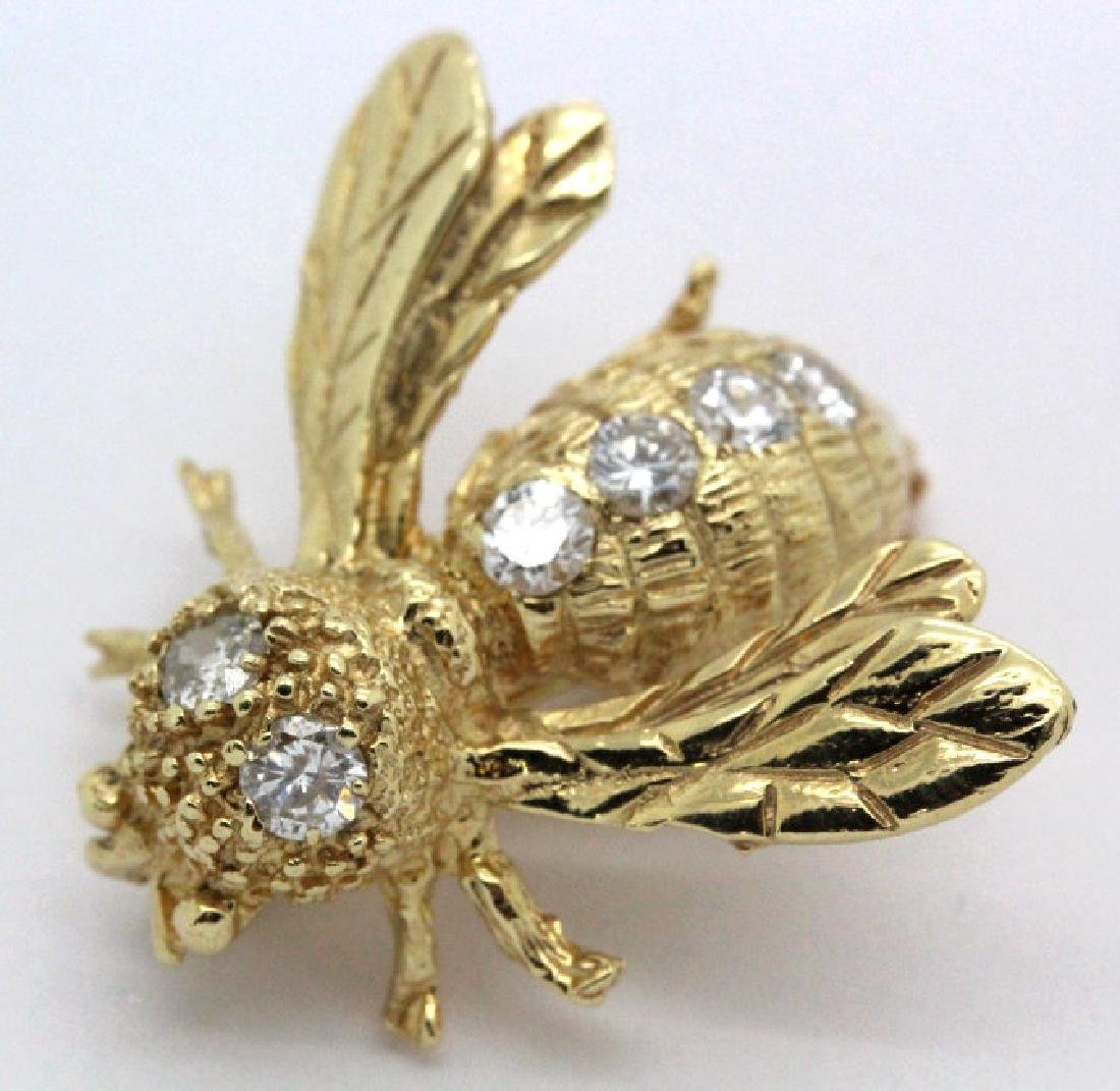 14k Gold Designer Signed 2/3 Ct Diamond Bee Brooch Pin - 3