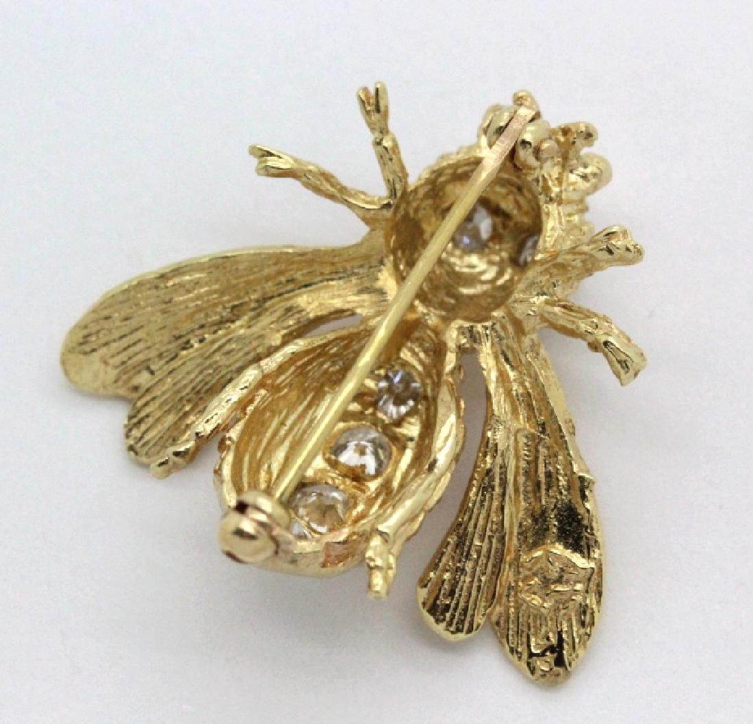 14k Gold Designer Signed 2/3 Ct Diamond Bee Brooch Pin - 5