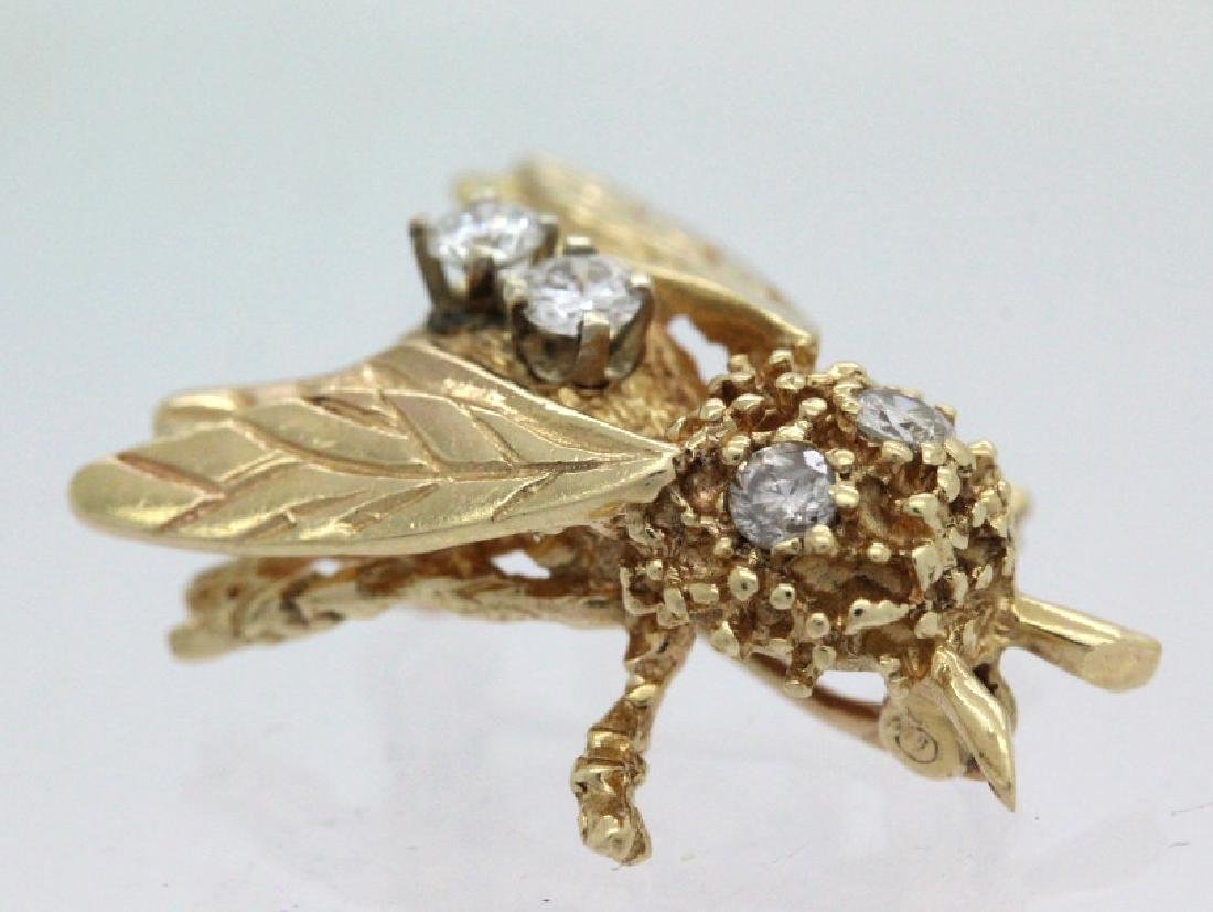 Vintage 14k Gold Diamond Bumble Bee Brooch Pin