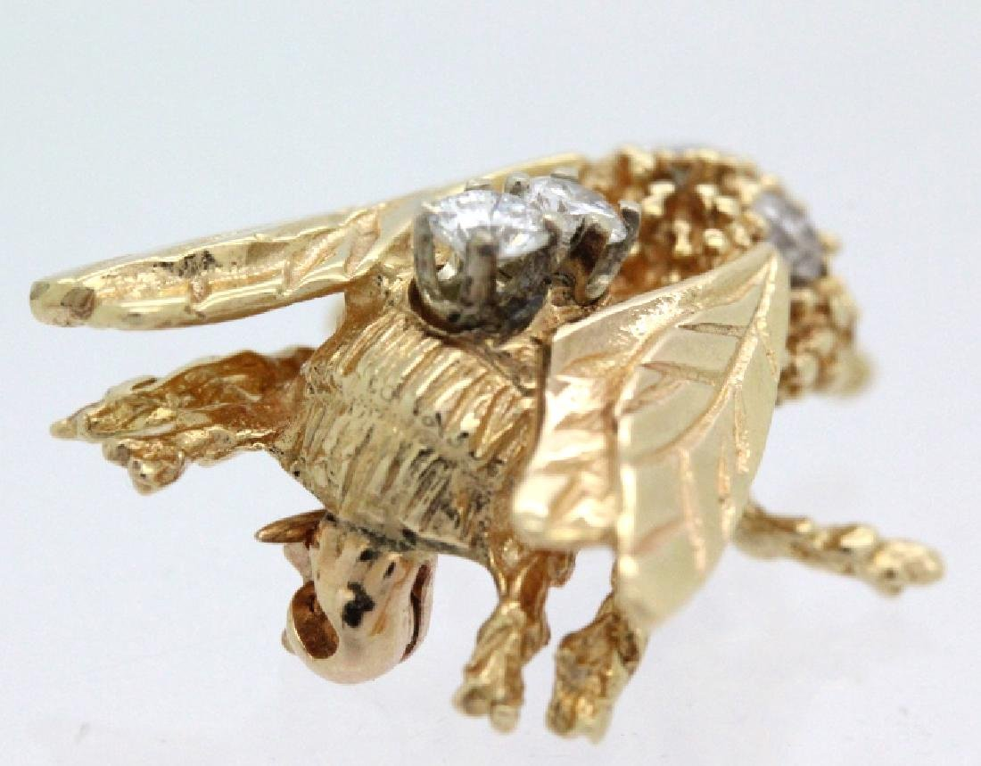 Vintage 14k Gold Diamond Bumble Bee Brooch Pin - 3