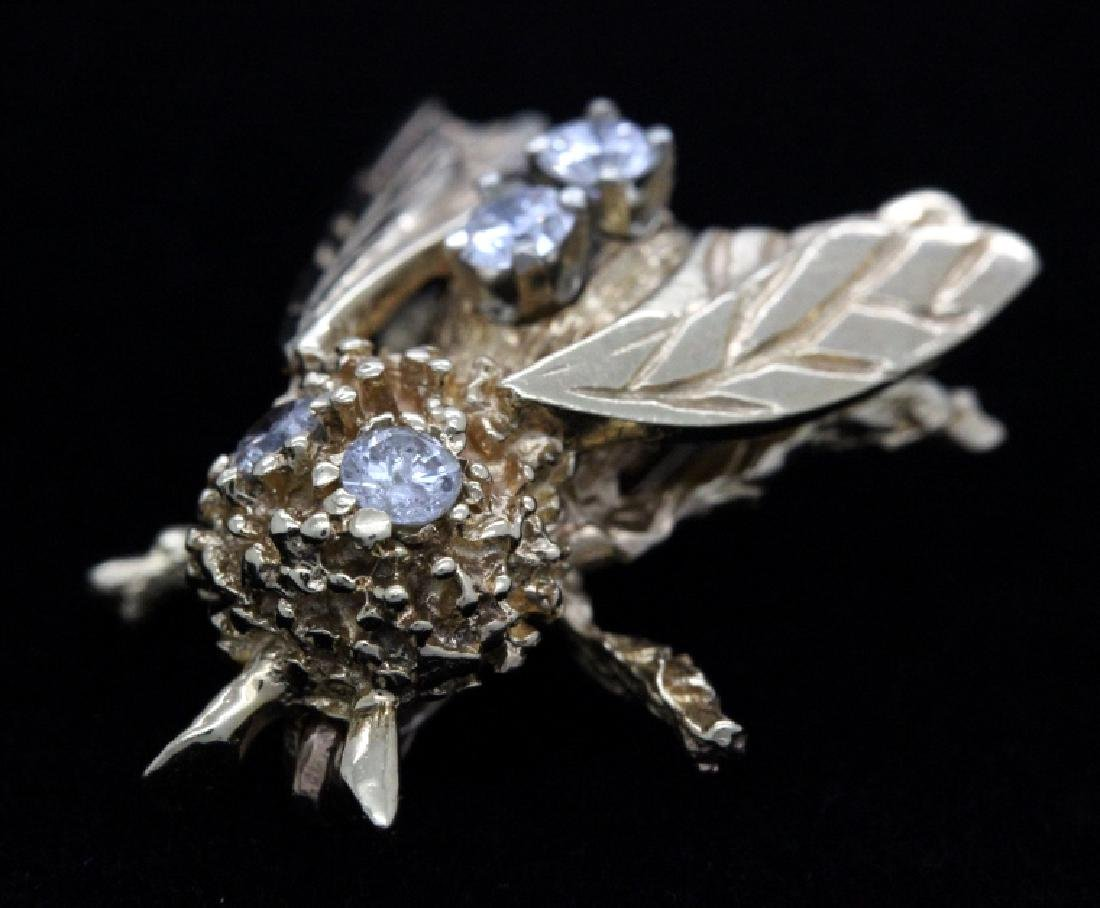 Vintage 14k Gold Diamond Bumble Bee Brooch Pin - 4