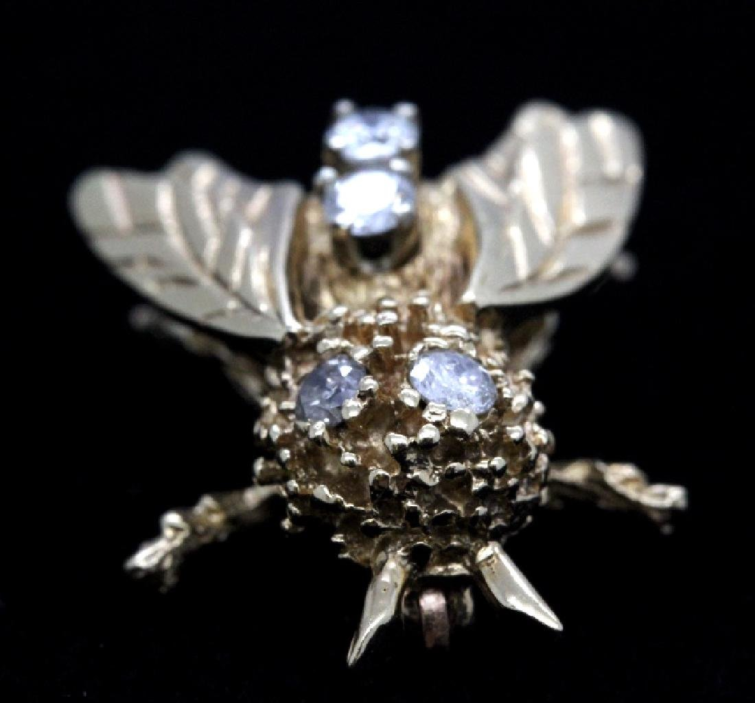 Vintage 14k Gold Diamond Bumble Bee Brooch Pin - 5